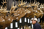 Southwick resident John J. Hall views a display of Trophy Bucks at the Northeast Big Buck Club's booth during the Springfield Sportmen's Show at the Eastern States Exposition in West Springfield on Friday, February 24, 2006. STAFF PHOTO BY CHRISTOPHER EVANS.