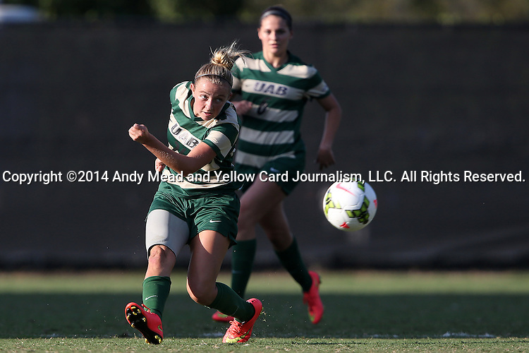 31 August 2014: UAB's Morgan Key-Adams (left). The Duke University Blue Devils hosted the University of Alabama Birmingham Blazers at Koskinen Stadium in Durham, North Carolina in a 2014 NCAA Division I Women's Soccer match. Duke won the game 3-1.