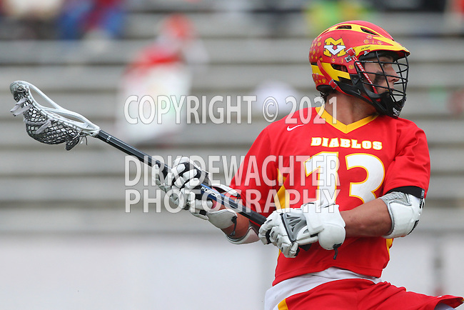 Mission Viejo, CA 05/10/11 - Spencer Taylor (Mission Viejo #13) in action during the Division 2 US Lacrosse / CIF Southern Section Championship game between Mission Viejo and Loyola at Redondo Union High School.
