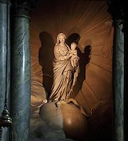 Jean-Baptiste PIGALLE, 1714-85, Virgin Mary, sculpture, La Chapelle de la Vierge (Chapel of the Virgin), Eglise Saint-Sulpice (St Sulpitius' Church), c.1646-1745, late Baroque church on the Left Bank, Paris, France. Picture by Manuel Cohen