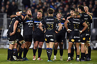 The Bath Rugby team huddle together at half-time. European Rugby Champions Cup match, between Bath Rugby and RC Toulon on December 16, 2017 at the Recreation Ground in Bath, England. Photo by: Patrick Khachfe / Onside Images