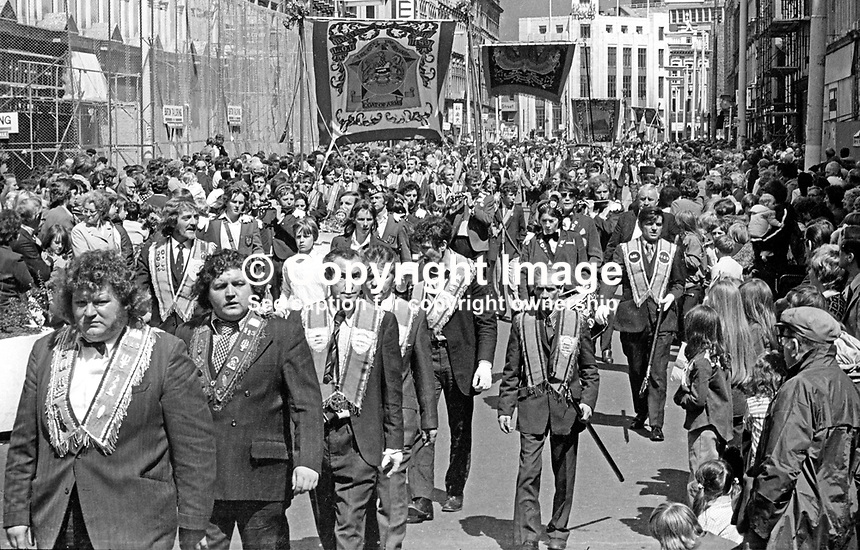 Orangemen taking part in their annual Twelfth parade marching along Royal Avenue, Belfast, 12th July 1974. 197407120388k<br />