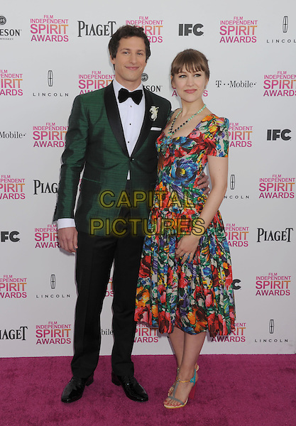 Andy Samberg, Joanna Newsom.2013 Film Independent Spirit Awards - Arrivals Held At Santa Monica Beach, Santa Monica, California, USA,.23rd February 2013..indy indie indies indys  full length green tuxedo tux jacket bow tie couple green blue yellow orange floral print dress .CAP/ROT/TM.©Tony Michaels/Roth Stock/Capital Pictures