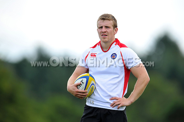 Jonathan Evans of Bath Rugby looks on. Bath Rugby training session on September 4, 2015 at Farleigh House in Bath, England. Photo by: Patrick Khachfe / Onside Images
