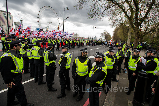 (On the L) Britain First &amp; (On the R) EDL.<br />