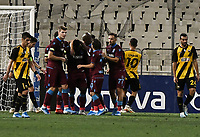 Players of Trabzonspor's celebrate the second goal of their team during of the UEFA Europa League play-off, 1st leg, soccer match between AEK Athens FC and Trabzonspor at the OAKA Spyros Louis Stadium in Athens, Greece on August 22, 2019.