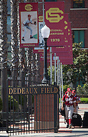 LOS ANGELES, CA - April 10, 2011: Danny Sandbrink of Stanford baseball walks through the gates on McGwire Way before Stanford's game against USC at Dedeaux Field in Los Angeles. Stanford lost 6-2.