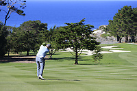 Paul Dunne (IRL) plays his 2nd shot on the 1st hole during Thursday's Round 1 of the 2018 AT&amp;T Pebble Beach Pro-Am, held over 3 courses Pebble Beach, Spyglass Hill and Monterey, California, USA. 8th February 2018.<br /> Picture: Eoin Clarke | Golffile<br /> <br /> <br /> All photos usage must carry mandatory copyright credit (&copy; Golffile | Eoin Clarke)