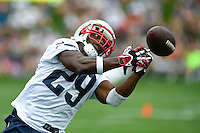 July 24, 2014 - Foxborough, Massachusetts, U.S.- New England Patriots running back Roy Finch (29) watches as the ball during the New England Patriots training camp held at Gillette Stadium in Foxborough Massachusetts. Eric Canha/CSM