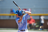 Hunter Strong (21) of the Burlington Royals at bat against the Greeneville Reds at Burlington Athletic Stadium on July 8, 2018 in Burlington, North Carolina. The Royals defeated the Reds 4-2.  (Brian Westerholt/Four Seam Images)