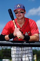 Sam Dexter (23) of the Kannapolis Intimidators poses for a photo prior to the game against the Delmarva Shorebirds at Kannapolis Intimidators Stadium on July 2, 2017 in Kannapolis, North Carolina.  The Shorebirds defeated the Intimidators 5-4.  (Brian Westerholt/Four Seam Images)
