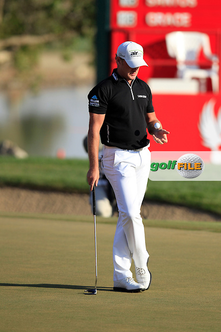 Jamie Donaldson (WAL) on the 17th green during Sunday's Final Round  of the Abu Dhabi HSBC Golf Championship at Abu Dhabi Golf Club, 20th January 2013 .Photo Eoin Clarke/www.golffile.ie