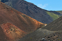 This hiking trail in the crater of HALEAKALA NATIONAL PARK on Maui in Hawaii is near the bottomless pit