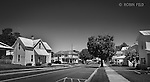 Residential street in Farmersville Ohio. Black and white