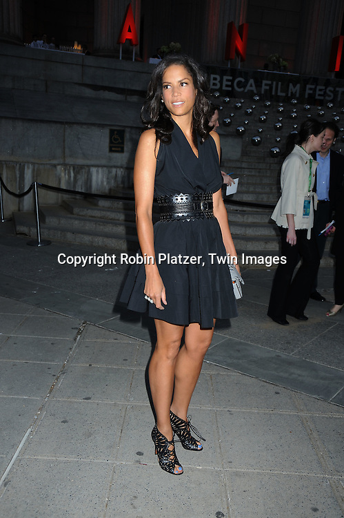 Veronica Webb in Azadine Alaia black dress arriving at The Vanity Fair Tribeca Film Festival Party on April 20, 2010 at The State Supreme Courthouse in New York City.