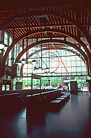 Boston:  Back Bay Station South End--interior.  Sculptural lighting.  Architects Kallman McKinnell & Wood. 1987. . Photo '91.