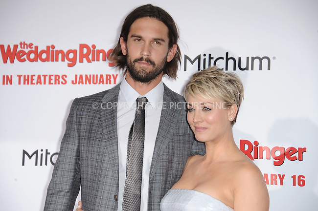WWW.ACEPIXS.COM<br /> <br /> January 6 2015, LA<br /> <br /> Ryan Sweeting and Kaley Cuoco-Sweeting arriving at 'The Wedding Ringer' World Premiere at the TCL Chinese Theatre on January 6, 2015 in Hollywood, California. <br /> <br /> <br /> By Line: Peter West/ACE Pictures<br /> <br /> <br /> ACE Pictures, Inc.<br /> tel: 646 769 0430<br /> Email: info@acepixs.com<br /> www.acepixs.com