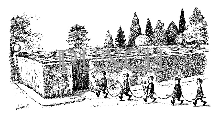 (Gardeners all roped together as they enter a maze)