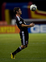 Devon McTavish (18) of D.C. United controls a ball during a game at RFK Stadium in Washington, DC.  San Jose defeated D.C. United, 2-0.