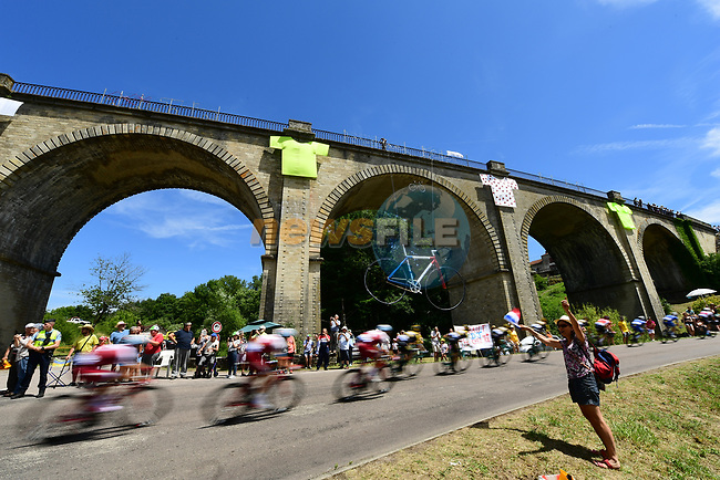 The peloton speed by during Stage 5 of the 104th edition of the Tour de France 2017, running 160.5km from Vittel to La Planche des Belles Filles, France. 5th July 2017.<br /> Picture: ASO/Alex Broadway | Cyclefile<br /> <br /> <br /> All photos usage must carry mandatory copyright credit (&copy; Cyclefile | ASO/Alex Broadway)