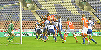 This headed shot from Blackpool's Jamille Matt hit the bar<br /> <br /> Photographer Dave Howarth/CameraSport<br /> <br /> The Carabao Cup - Wigan Athletic v Blackpool - Tuesday 8th August 2017 - DW Stadium - Wigan<br />  <br /> World Copyright &copy; 2017 CameraSport. All rights reserved. 43 Linden Ave. Countesthorpe. Leicester. England. LE8 5PG - Tel: +44 (0) 116 277 4147 - admin@camerasport.com - www.camerasport.com