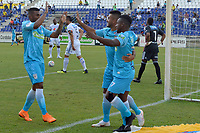MONTERIA - COLOMBIA, 15-09-2018: Rafhael Lucas (C) jugador de Jaguares de Córdoba celebra después de anotar un gol al Millonarios durante partido por la fecha 10 de la Liga Águila II 2018 jugado en el estadio Municipal de Montería. / Rafhael Lucas (C) player of Jaguares of Cordoba celebrates after scoring a goal to Millonarios during a match for the date 10 of the Liga Aguila II 2018 at the Municipal de Monteria Stadium in Monteria city. Photo: VizzorImage / Andres Felipe Lopez / Cont