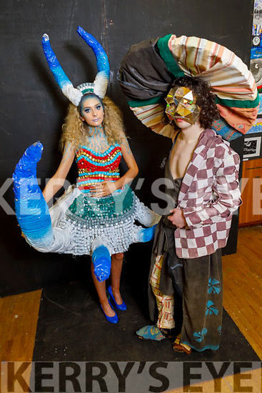 Presentation Castleisland student Ava Regan (Out of Control) with Ian O'Neill (St Pats Castleisland) and his creation is called Sofalum display their Junk Kouture creations at the Presentation Castleisland school on Friday