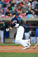 Kane County Cougars outfielder Albert Almora #2 base hit in the bottom of the third inning during a game against the Beloit Snappers on May 26, 2013 at Fifth Third Bank Ballpark in Geneva, Illinois.  Beloit defeated Kane County 6-5.  (Mike Janes/Four Seam Images)