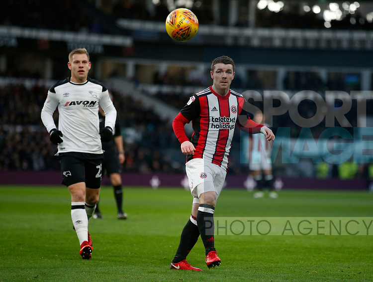 John Fleck of Sheffield Utd during the Championship match at the Pride Park Stadium, Derby. Picture date 1st January 2018. Picture credit should read: Simon Bellis/Sportimage