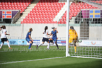Action in the England goalmouth during the UEFA Womens U19 Final at Parc y Scarlets Saturday 31st August 2013. All images are the copyright of Jeff Thomas Photography-www.jaypics.photoshelter.com-07837 386244-Any use of images must be authorised by the copyright owner.