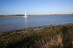 Sailing boat on River Deben, Suffolk, England