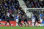 Alvaro Morata, Nacho Fernandez, Lucas Vazquez celebrates after scoring a goal during the match of  La Liga between Club Deportivo Leganes and Real Madrid at Butarque Stadium  in Leganes, Spain. April 05, 2017. (ALTERPHOTOS / Rodrigo Jimenez)