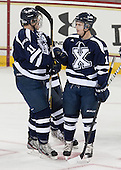 Josh Day (StFX - 11), Michael Kirkpatrick (StFX - 18) - The Boston College Eagles defeated the visiting St. Francis Xavier University X-Men 8-2 in an exhibition game on Sunday, October 6, 2013, at Kelley Rink in Conte Forum in Chestnut Hill, Massachusetts.