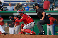 Umpire Jesse Busch and State College Spikes catcher Carlos Soto (28) during a NY-Penn League game against the Batavia Muckdogs on July 2, 2019 at Dwyer Stadium in Batavia, New York.  Batavia defeated State College 1-0.  (Mike Janes/Four Seam Images)
