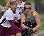 Lockport's Cailey Schlink (left) and Belleville's Kiersten Lang fight for the ball. Belleville played Lockport in a quarterfinal game of the O'Fallon sectional at O'Fallon Sports Park on Monday May 20, 2019. <br /> Tim Vizer/Special to STLhighschoolsports.com