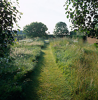 A path cut through the tall grass leads to the end of the garden and a perfectly clipped hedge