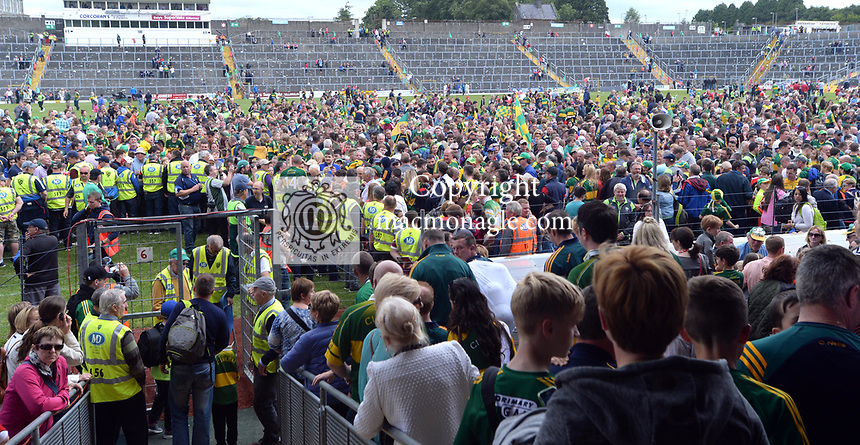 2-7-2017: The scene at the end of the game at the Kerry V Cork Munster Football final in Killarney on Sunday.<br /> Photo: Don MacMonagle