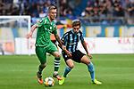 05.08.2019, Carl-Benz-Stadion, Mannheim, GER, 3. Liga, SV Waldhof Mannheim vs. TSV 1860 Muenchen, <br /> <br /> DFL REGULATIONS PROHIBIT ANY USE OF PHOTOGRAPHS AS IMAGE SEQUENCES AND/OR QUASI-VIDEO.<br /> <br /> im Bild: Daniel Wein (TSV 1860 Muenchen #17) gegen Marco Schuster (SV Waldhof Mannheim #6)<br /> <br /> Foto © nordphoto / Fabisch