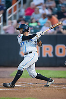 Jean Ramirez (27) of the Hudson Valley Renegades follows through on his swing against the Aberdeen IronBirds at Leidos Field at Ripken Stadium on July 27, 2017 in Aberdeen, Maryland.  The IronBirds defeated the Renegades 3-0 in game two of a double-header.  (Brian Westerholt/Four Seam Images)