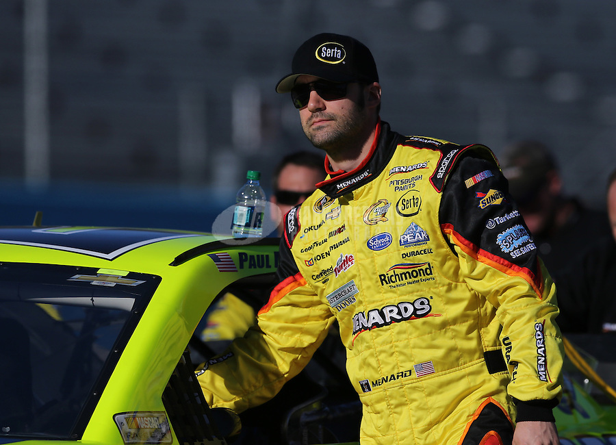 Mar. 1, 2013; Avondale, AZ, USA; NASCAR Sprint Cup Series driver Paul Menard during qualifying for the Subway Fresh Fit 500 at Phoenix International Raceway. Mandatory Credit: Mark J. Rebilas-