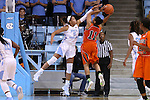 17 November 2015: Florida A&M's Khadejra Young (11) and North Carolina's Stephanie Watts (5). The University of North Carolina Tar Heels hosted the Florida A&M University Rattlers at Carmichael Arena in Chapel Hill, North Carolina in a 2015-16 NCAA Division I Women's Basketball game. UNC won the game 94-58.