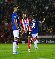 Lincoln City's Bruno Andrade celebrates scoring his side's second goal<br /> <br /> Photographer Chris Vaughan/CameraSport<br /> <br /> The Carabao Cup Second Round - Lincoln City v Everton - Wednesday 28th August 2019 - Sincil Bank - Lincoln<br />  <br /> World Copyright © 2019 CameraSport. All rights reserved. 43 Linden Ave. Countesthorpe. Leicester. England. LE8 5PG - Tel: +44 (0) 116 277 4147 - admin@camerasport.com - www.camerasport.com
