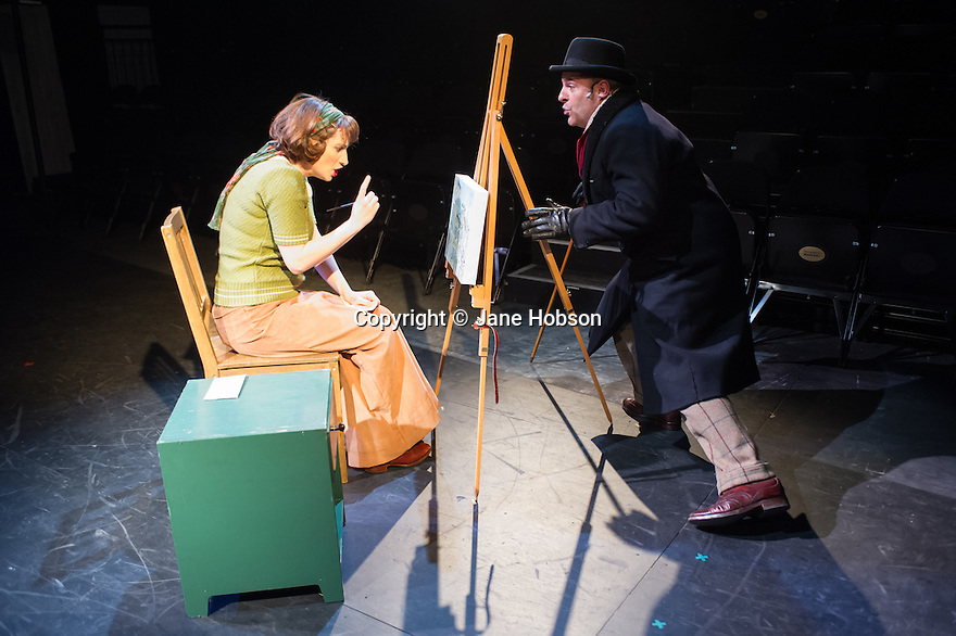London, UK. 21.02.2014. THE A TO Z OF MRS P has its world premiere at Southwark Playhouse.  The story behind the handy, all-purpose, pocket-sized A-Z Street Guide is written by Diane Samuels (book) and Gwyneth Herbert (music and lyrics). <br />  Starring ISY SUTTIE (Peep Show / Shameless) in her first musical, as the pioneering Mrs P; with Tony Award winner FRANCES RUFFELLE (Les Miserables, Pippin, Piaf) as her emotionally fragile mother; and Olivier Award winner MICHAEL MATUS (Martin Guerre, The Baker's Wife, The Sound Of Music) as Phyllis&rsquo;s beloved and impossible father, the map publisher Sandor Gross. Directed by Sam Buntrock. Picture shows: Isy Suttie (Mrs P) and Michael Matus (Sandor Gross).<br /> Photograph &copy; Jane Hobson.