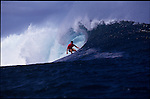 Teahupoo, Tahiti. May 2000.Flavio Padaratz of Brazil rips one down the line at the GOTCHA PRO 2000 at Teahupoo.