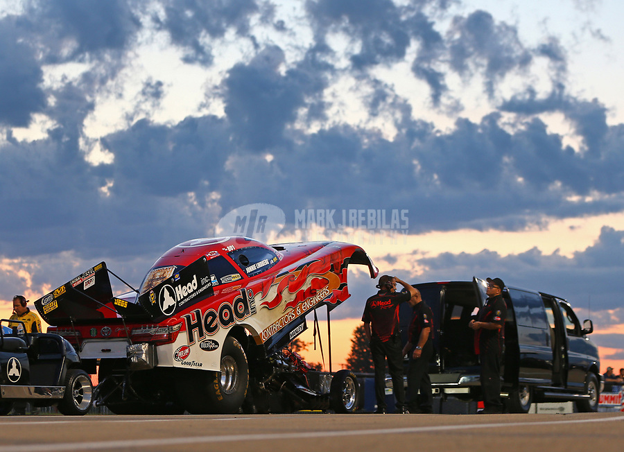 Jul 7, 2017; Joliet, IL, USA; NHRA funny car driver Jonnie Lindberg during qualifying for the Route 66 Nationals at Route 66 Raceway. Mandatory Credit: Mark J. Rebilas-USA TODAY Sports