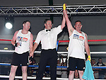 Gerrard Clinton beats Zach Sharkey in the White Collar Boxing in Ardee Parish Centre. Photo:Colin Bell/pressphotos.ie