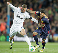 FC Barcelona's Daniel Alves (r) and Real Madrid's Sergio Ramos during Copa del Rey - King's Cup semifinal second match.February 26,2013. (ALTERPHOTOS/Acero) /Nortephoto