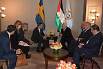 Palestinian President Mahmoud Abbas, meets with the Prime Minister of Sweden in New York, United States on September 23, 2019. Photo by Thaer Ganaim