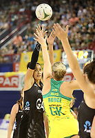 JOHANNESBURG, SOUTH AFRICA - JANUARY 28: Maria Folau of the Silver Ferns shoots for goal during the Netball Quad Series netball match between Diamonds and Silver Ferns at the Ellis Park Arena in Johannesburg. Mandatory Photo Credit: ©Reg Caldecott/Michael Bradley Photography