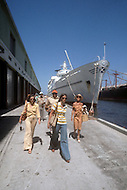 June, 1977. Havana, Cuba. Eighteen years after the Cuban Revolution the first U.S. tourists were permitted to visit Havana. U.S. tourists disembarking the Daphne to Havana Pier.